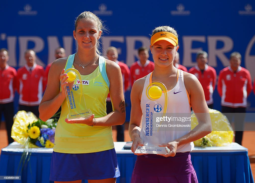 Winner Eugenie Bouchard of Canada and runner-up Karolina Pliskova of Czech Republic pose during Day 8 of the Nuernberger Versicherungscup on May 24, 2014 in Nuremberg, Germany.