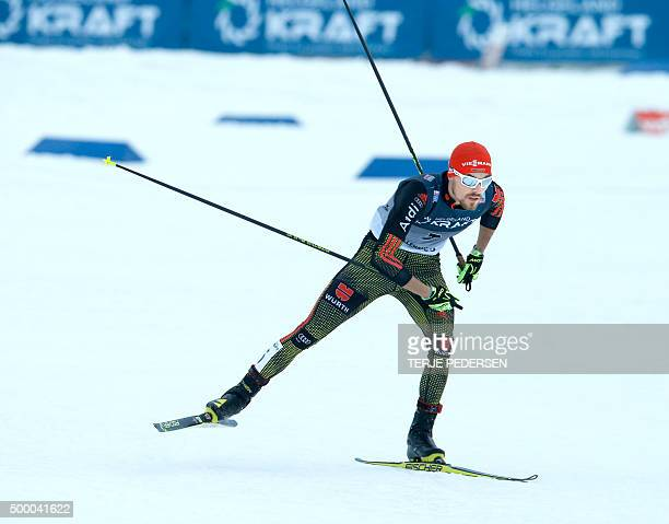 Winner Fabian Riessle of Germany competes in the individual Gundersen 10 km during the FIS Nordic combined world cup in Lillehammer on December 5,...