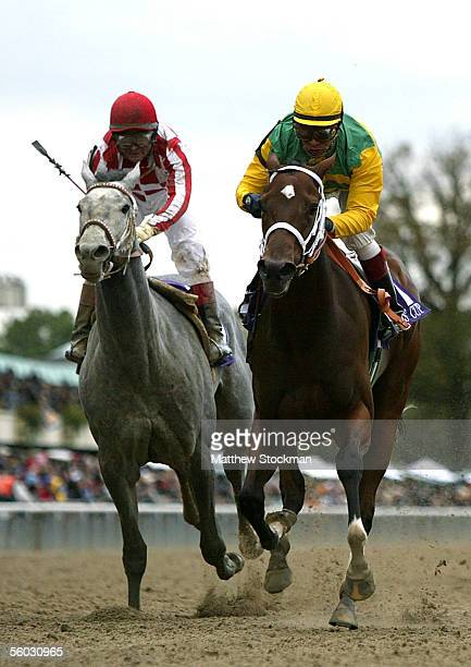 Winner Folklore ridden by Edgar Prado races against Wild Fit ridden by Alex Solis in the Alberto VO5 Breeders' Cup Juvenile Fillies race during the...