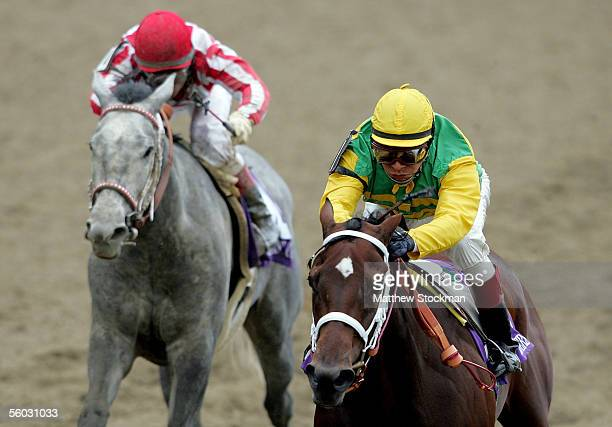 Winner Folklore ridden by Edgar Prado races against Wild Fit ridden by Alex Solis down the stretch in the Alberto VO5 Breeders' Cup Juvenile Fillies...