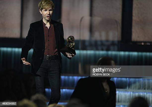Winner for Album Of The Year Beck reacts as Kanye West leaves the stage at the 57th Annual Grammy Awards in Los Angeles February 8 2015 AFP PHOTO /...