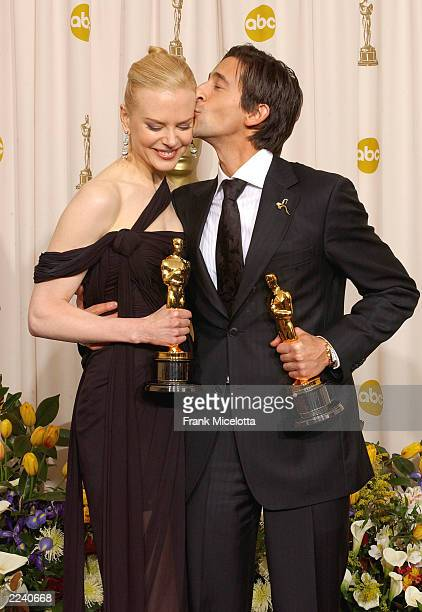 Winner for Best Actress for 'The Hours' Nicole Kidman and Best Actor for 'The Pianist' Adrien Brody pose during the 75th Annual Academy Awards at the...