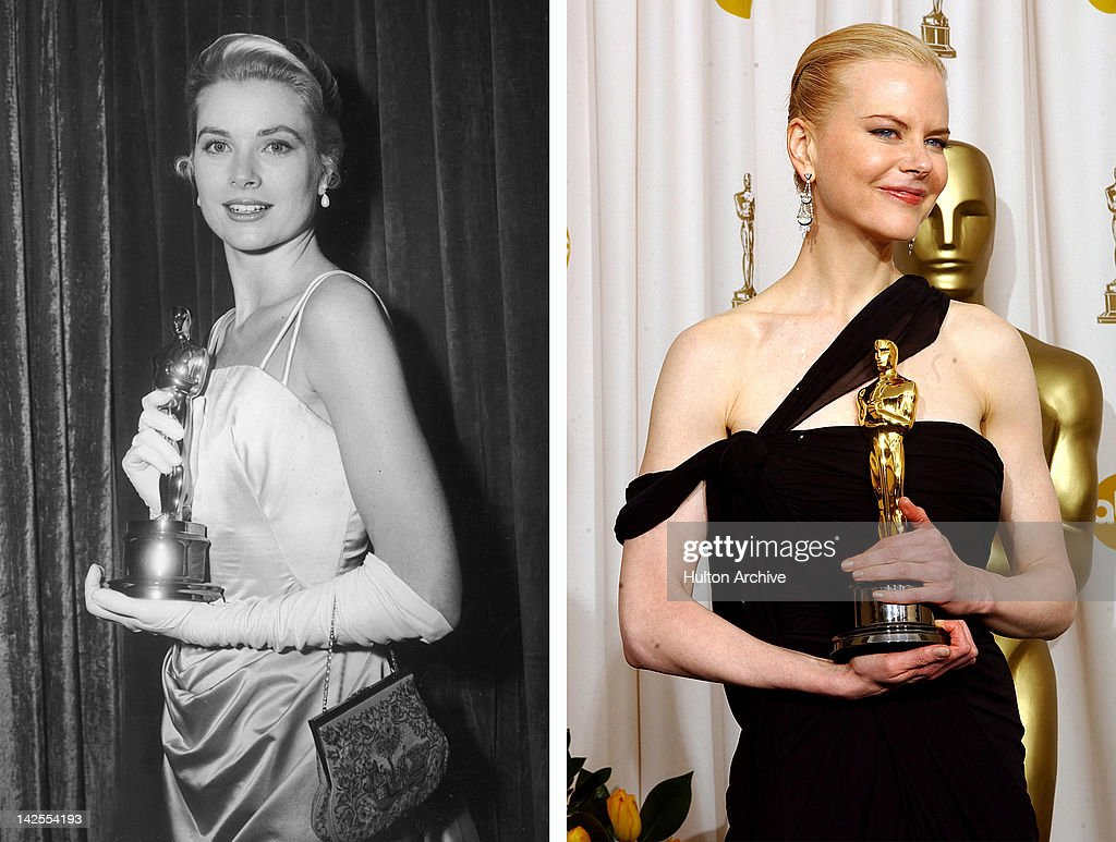 In this composite image a comparison has been made between Grace Kelly (L) and actress Nicole Kidman. Actress Nicole Kidman is reportedly in talks to play Grace Kelly in a film biopic directed by Olivier Dahan and written by Arash Amel. HOLLYWOOD - MARCH 23: Winner for Best Actress for 'The Hours,' Nicole Kidman poses during the 75th Annual Academy Awards at the Kodak Theater on March 23, 2003 in Hollywood, California.