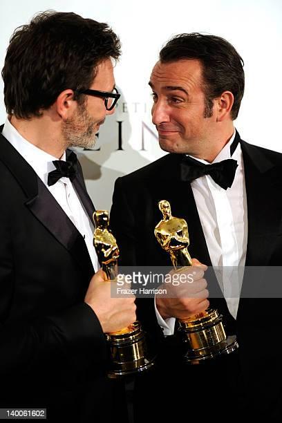 Winner for Best Director for 'The Artist' Michel Hazanavicius and Actor Jean Dujardin winner of the Best Actor Award for 'The Artist'arrive at The...