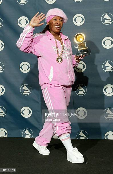Winner for Best Female Rap Solo Performance Missy Elliot poses backstage during the 45th Annual Grammy Awards at the Madison Square Garden on...