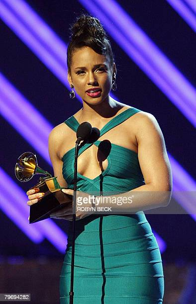 2008 winner for Best Female RB Vocal Performance Alicia Keys gives her acceptance speech at the 50th Grammy Awards in Los Angeles on February 10 2008...