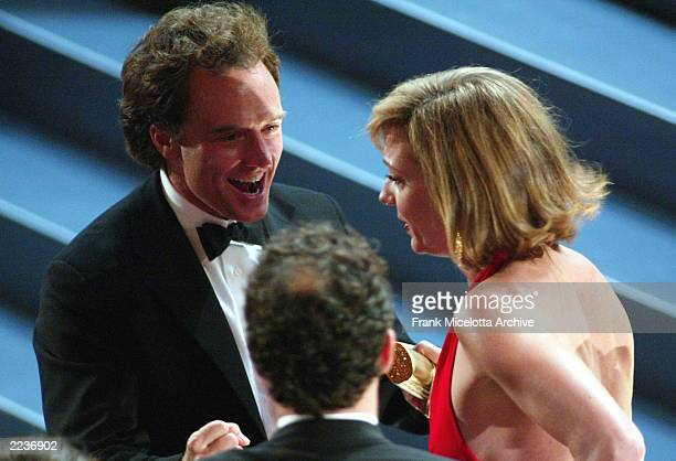Winner for Best Lead Actress in a Drama Series for The West Wing, Allison Janney is congratulated by Bradley Whitford at the 54th Annual Primetime...