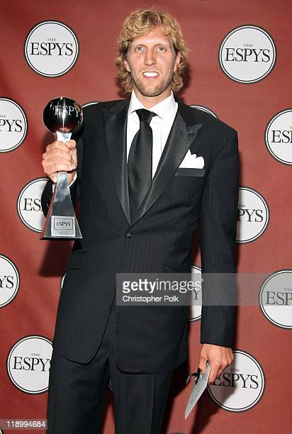ESPY winner for Best Male Athlete and Best NBA Player Dirk Nowitzki attends The 2011 ESPY Awards at Nokia Theatre LA Live on July 13 2011 in Los...