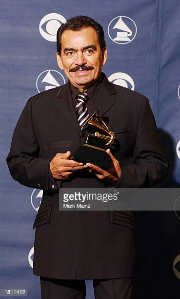 Winner for Best Mexican/MexicanAmerican Album for Lo Dijo El Corazon Joan Sebastian poses backstage at the 45th Annual Grammy Awards PreTelecast at...