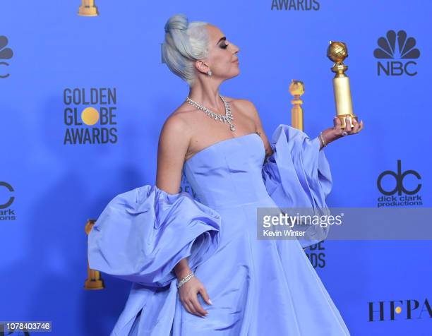 Winner for Best Original Song Motion Picture for 'Shallow A Star is Born' Lady Gaga poses with the trophy in the press room during the 76th Annual...