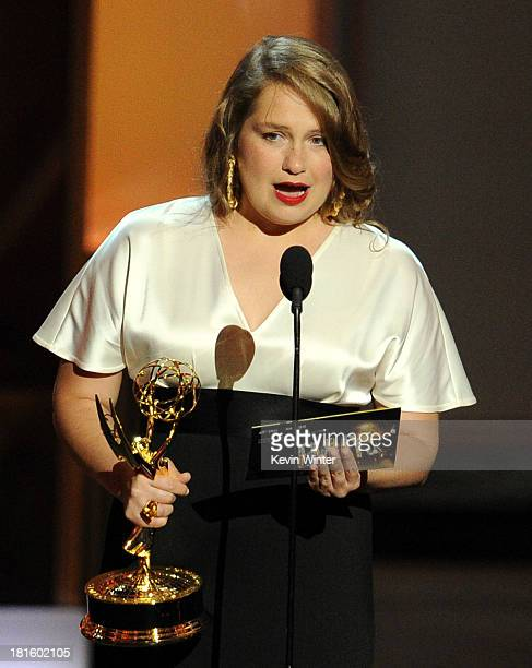 Winner for Best Supporting Actress in a Comedy Series Merritt Wever speaks onstage during the 65th Annual Primetime Emmy Awards held at Nokia Theatre...