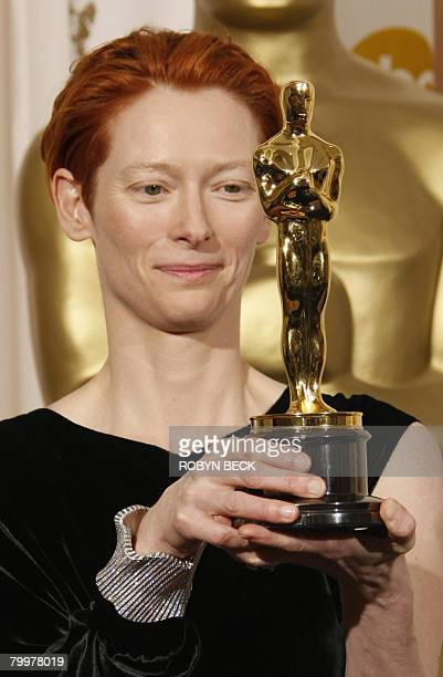 Winner for Best Supporting Actress Tilda Swinton poses with the trophy during the 80th Annual Academy Awards at the Kodak Theater in Hollywood...