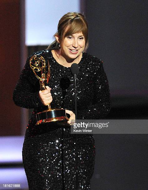 Winner for Best Writing for a Miniseries/Movie Abi Morgan accepts her award onstage during the 65th Annual Primetime Emmy Awards held at Nokia...