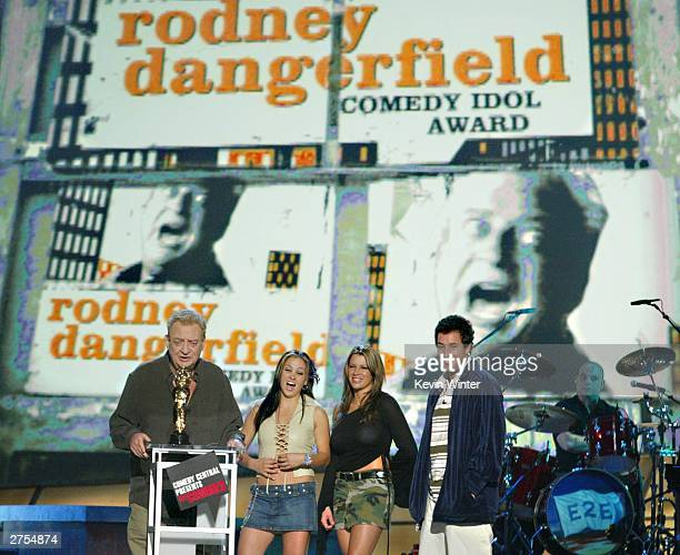 Winner for 'Comedy Idol' Award winner Rodney Dangerfield with The Juggies and comedian Adam Sandler speak on stage during Comedy Central's First Ever...
