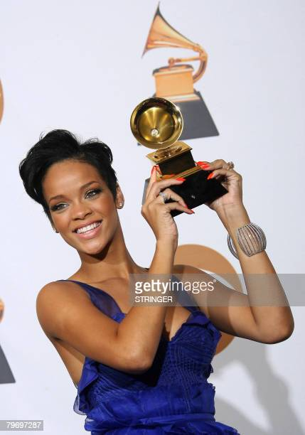 Winner for Record Of The Year and Nominee or Best Dance Recording Rihanna poses with the trophy at the 50th Grammy Awards in Los Angeles on February...