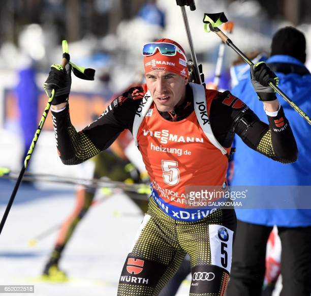 Winner Germany's Arnd Peiffer competes during the men's 125 km pursuit at the IBU Biathlon World Cup in Kontiolahti Finland on March 11 2017 / AFP...