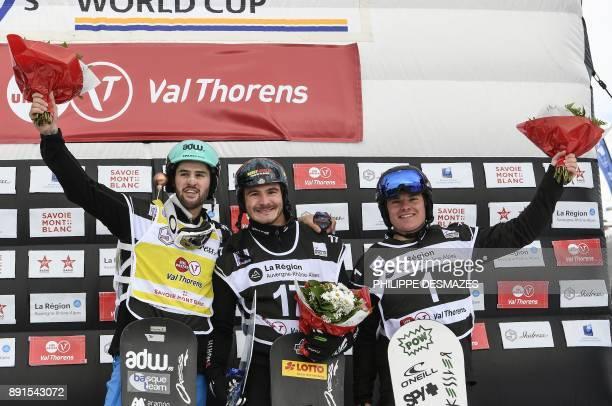 Winner Germany's Paul Berg secondplaced Australia's Adam Lambert and thirdplaced Spain's Lucas Eguibar celebrate on a podium of the FIS Snowboard...