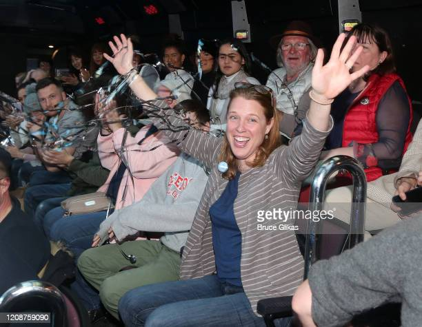 Winner Heather Hurley The Ride is announced as The Ride welcomes it's 1000th Rider on the immersive bus tour of NYC on February 25 2020 in New York...