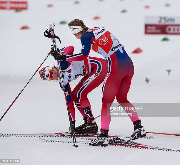 Winner Heidi Weng of Norway Ingvild Flugstad Oestberg of Norway after finish at FIS Cross Country World Cup Tour de Ski Ladies 10 km Mass Start...