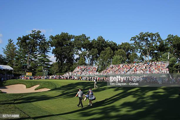Winner Hunter Mahan heads down the 18th during the fourth round of theThe Barclays Golf Tournament at The Ridgewood Country Club Paramus New Jersey...