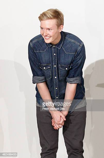 Winner in the 'Graduate Projects' category, Danny Reinke poses at the runway at the European Fashion Award FASH 2014 on January 13, 2014 in Berlin,...