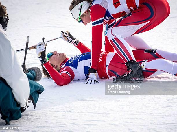 Winner Ingvild Flugstad Oestberg and Maiken Caspersen Falla of Norway celebrates winning the gold medal at the Ladies 6 x 12 km Free Team Sprint...