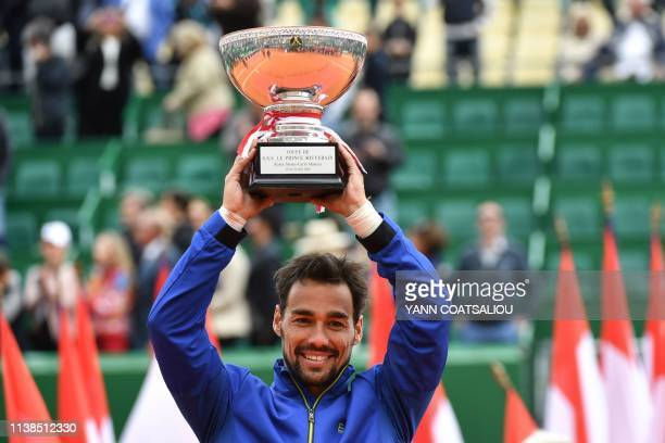 Winner Italy's Fabio Fognini poses with the trophy after winning the final tennis match against Serbia's Dusan Lajovic at the Monte-Carlo ATP Masters...