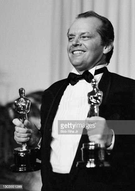 """Winner Jack Nicholson backstage at the 56th Annual Academy Awards Show, April 9, 1984 in Los Angeles, California. """"n""""n"""
