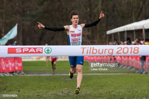 Winner Jakob Ingebrigtsen of Norway celebrates during the U20 Men's race of the SPAR European Cross Country Championships on December 9 2018 in...