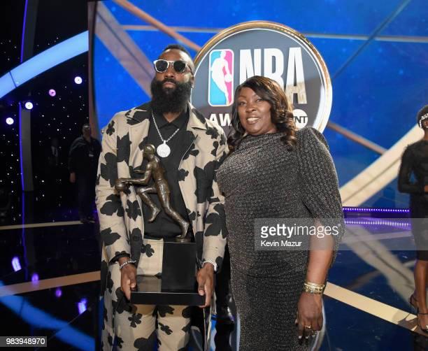 867df158ed9 MVP winner James Harden and Monja Willis attend the 2018 NBA Awards at  Barkar Hangar on