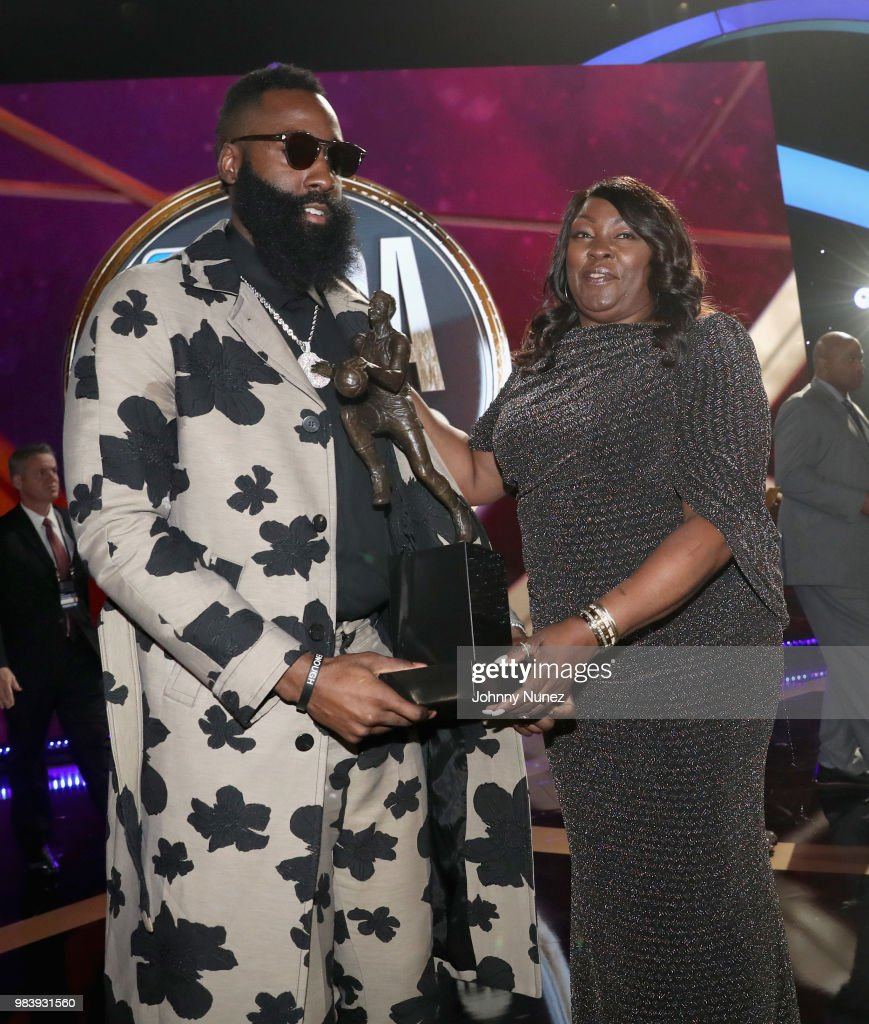 4a74f0842ff MVP winner James Harden and Monja Willis speak onstage at the 2018 ...