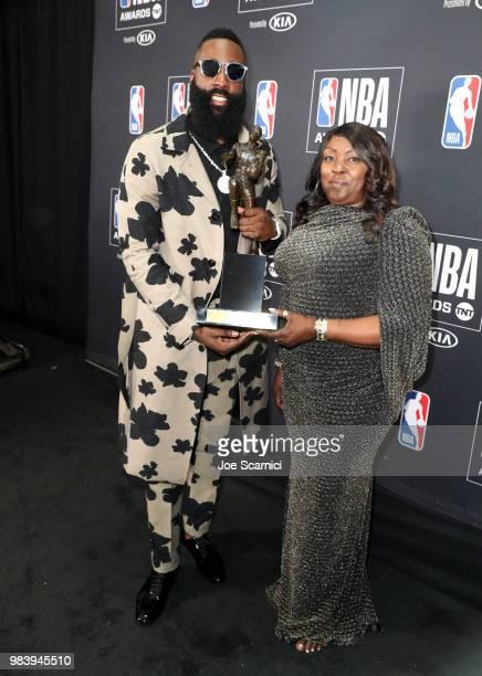 9e9716eb040 MVP winner James Harden poses with Monja Willis at the 2018 NBA... News  Photo