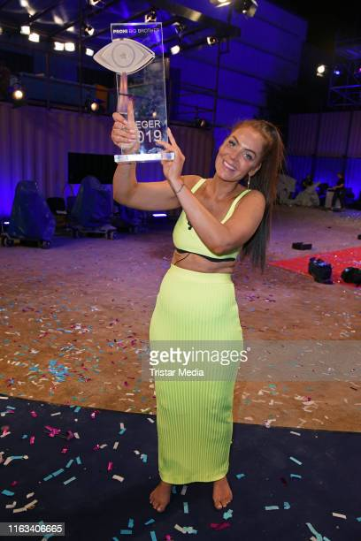 Winner Janine Pink attends the Promi Big Brother final at MMC Studios on August 23 2019 in Cologne Germany