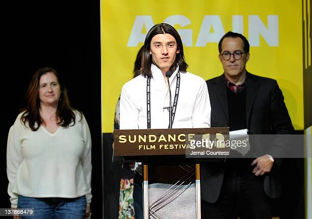 Winner Jeff Orlowski accepts his award for 'Chasing Ice' Excellence In Cinematography Award Documentary as jury member Tia Lessin and Sundance Film...
