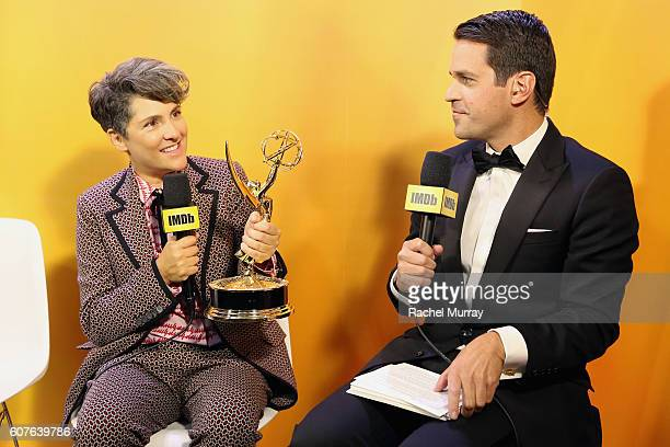 Winner Jill Soloway and host Dave Karger attend IMDb Live After The Emmys presented by TCL on September 18 2016 in Los Angeles California