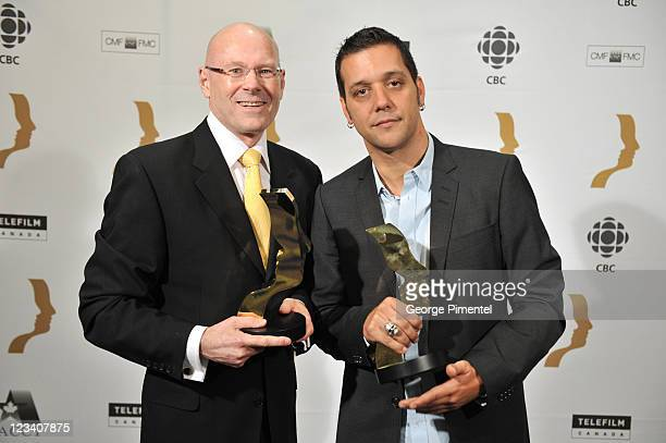 Winner Jim Bannon and George Stroumboulopoulos attend the 26th Annual Gemini Awards - Industry Gala at the Metro Toronto Convention Centre on August...