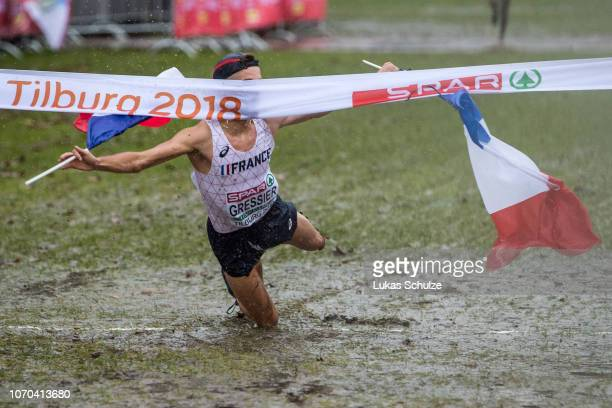 Winner Jimmy Gressier of France celebrates during the U23 Men's race of the SPAR European Cross Country Championships on December 9 2018 in Tilburg...