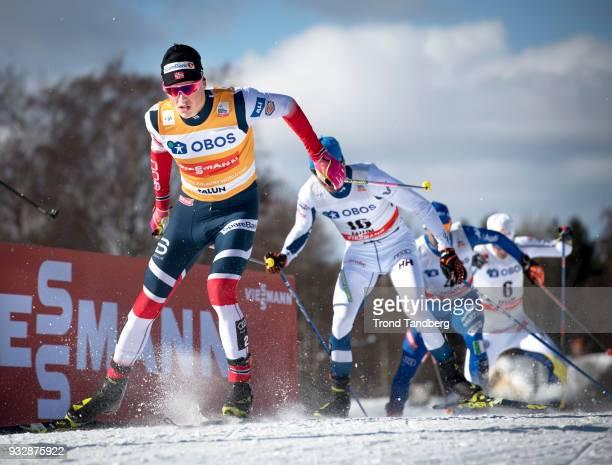 Winner Johannes Hoesflot Klaebo of Norway during Men's Sprint Free at Lugnet Stadium on March 16, 2018 in Falun, Sweden.