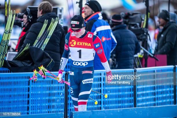 Winner Johannes Hostflot Klaebo of Norway after race Tour de Ski Men 13 Sprint Free on December 29 2018 in Toblach Hochpustertal Italy