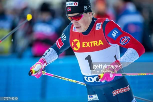 Winner Johannes Hostflot Klaebo of Norway during Tour de Ski Men 13 Sprint Free on December 29 2018 in Toblach Hochpustertal Italy