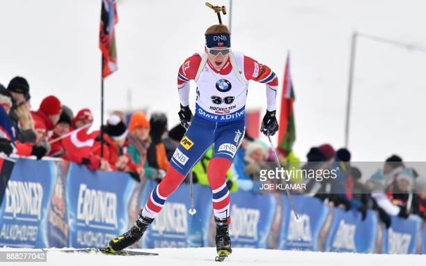 Winner Johannes Thingnes Boe of Norway competes during the men's 10 km sprint event at the IBU World Cup Biathlon in Hochfilzen Austria on December 8...