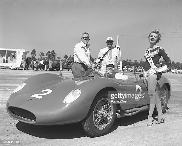 Winner John Cuevas in his Porsche 550 Spider following the final SCCA sports car race at New Smyrna Beach Airport