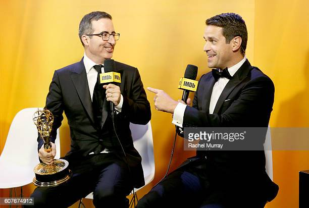 Winner John Oliver and host Dave Karger attend IMDb Live After The Emmys presented by TCL on September 18 2016 in Los Angeles California