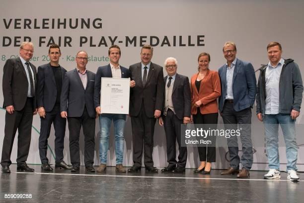 Winner Julian Reus and the Fair Play Representative Kevin Weiss from the national association Westfalen with Miroslav Klose DFB President Rheinhard...