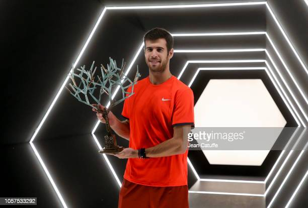 Winner Karen Khachanov of Russia poses with the trophy after winning the Rolex Paris Masters 2018 on day 7 at the AccorHotels Arena in Bercy on...