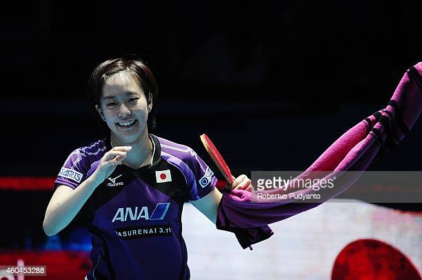 Winner Kasumi Ishikawa of Japan celebrates on court after defeating Seo Hyowon of Korea during the Women's single final match of the 2014 ITTF World...