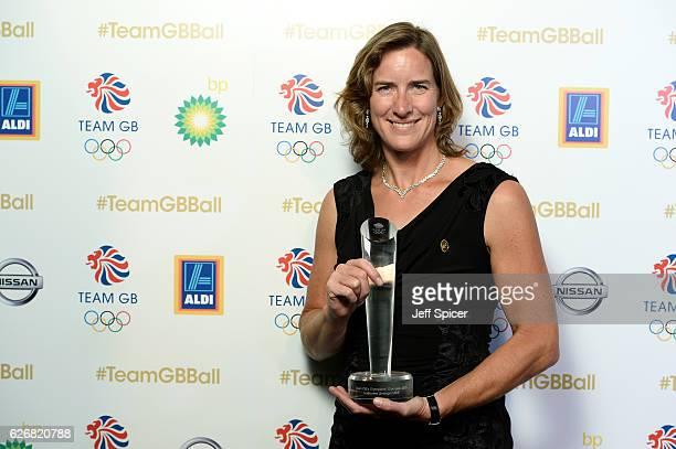 Winner Katherine Grainger poses with the Olympians' Olympian Award at the Team GB Ball at Battersea Evolution on November 30 2016 in London England