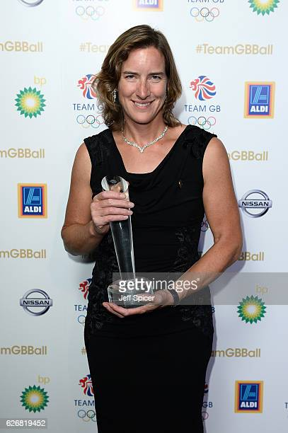Winner Katherine Granger poses with the Olympians' Olympian award at the Team GB Ball at Battersea Evolution on November 30 2016 in London England