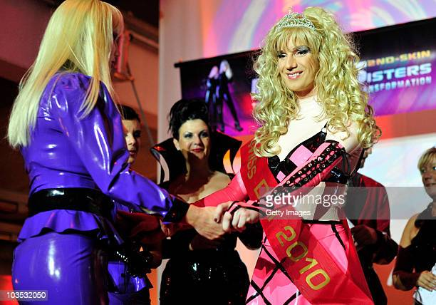 Winner Katja Lynx of the Netherlands receives congratulations at a RubberdollContest at the Latexpo 2010 at the Edelfettwerk on August 21 2010 in...