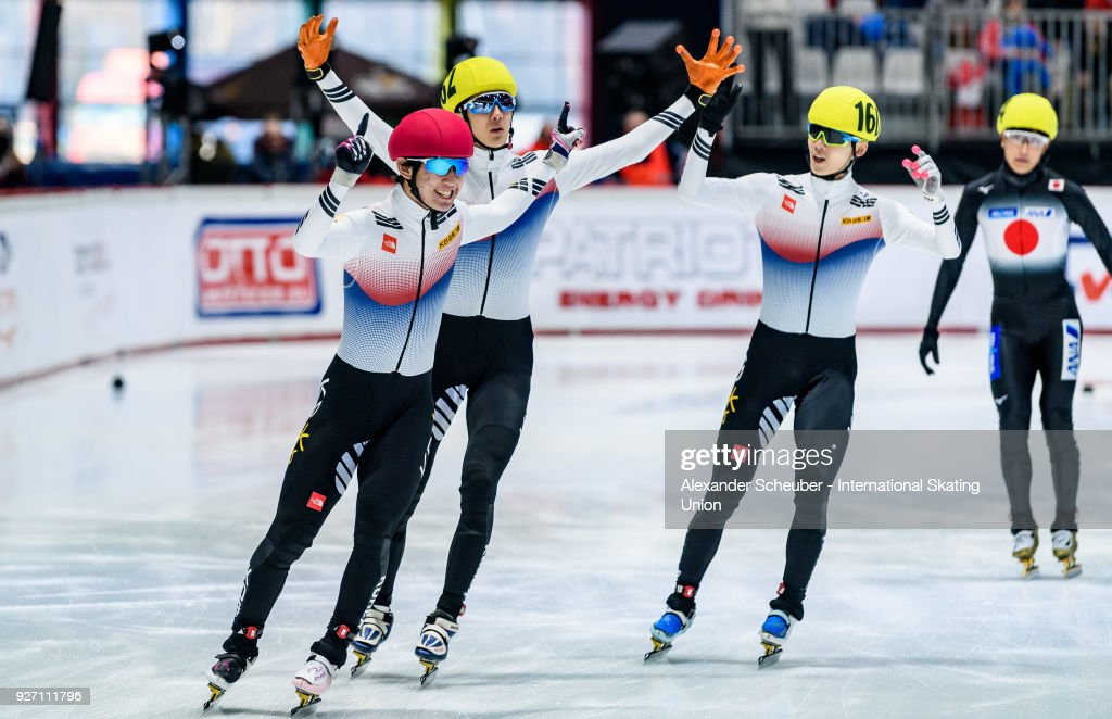 Winner Kyung Hwan Hong of Korea, second place Jan Hyuk Park of Korea and third place June Seo Lee of Korea celebrate winning the Mens 1000m Final A during the World Junior Short Track Speed Skating Championships Day 2 at Arena Lodowa on March 4, 2018 in Tomaszow Mazowiecki, Poland.